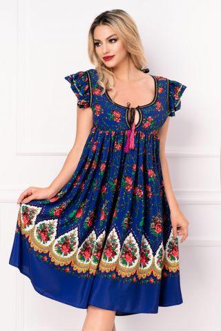 Rochie Venezia lejera albastra cu decupaj la spate si imprimeu floral