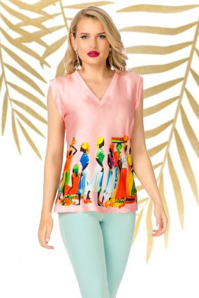 Bluza Pretty Girl roze cu imprimeu tribal si decolteu in V