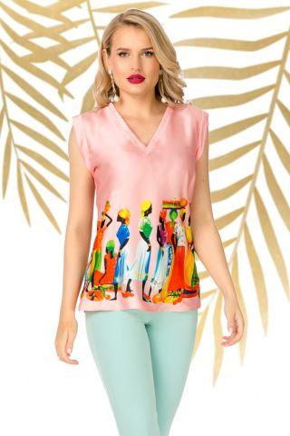 Bluza Pretty Girl roze cu imprimeu tribal si decolteu in V