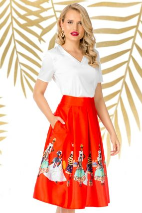 Fusta Pretty Girl midi rosie in clos cu imprimeu tribal