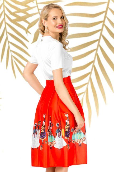 Fusta Pretty Girl midi rosie in clos cu imprimeu tribal