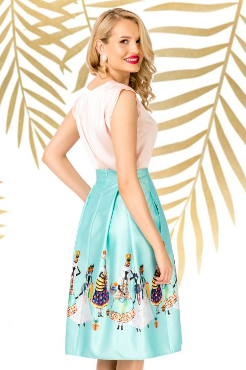 Fusta Pretty Girl midi mint in clos cu imprimeu tribal