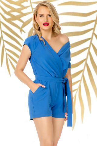 Salopeta Pretty Girl de vara albastra cu umarul gol