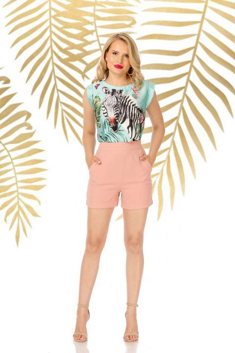 Pantaloni Pretty Girl scurti casual rose cu buzunare laterale