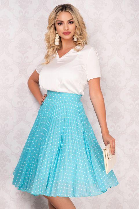 Fusta Pretty Girl plisata din voal bleu cu buline albe