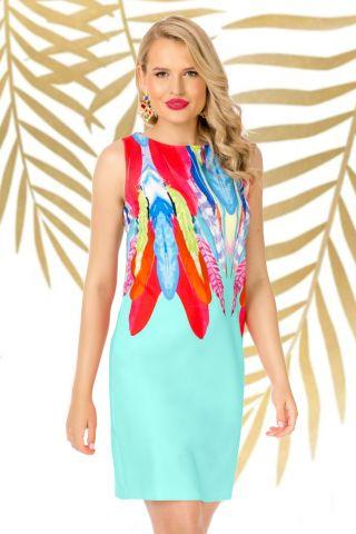 Rochie de zi Pretty Girl mint cu imprimeu pene multicolore
