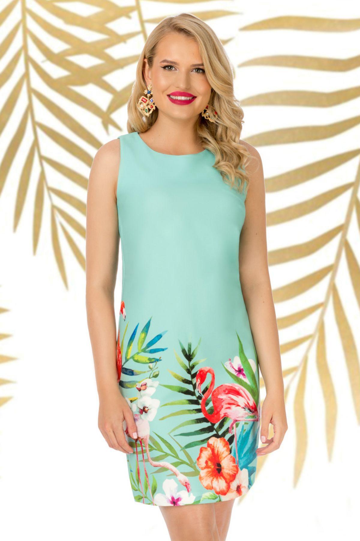 Rochie Pretty Girl de zi mint cu imprimeu flori tropicale si flamingo Pretty-Girl