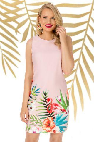 Rochie Pretty Girl de zi rose cu imprimeu flori tropicale si flamingo