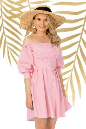 Rochie Pretty Girl de vara roz din bumbac cu umerii goi