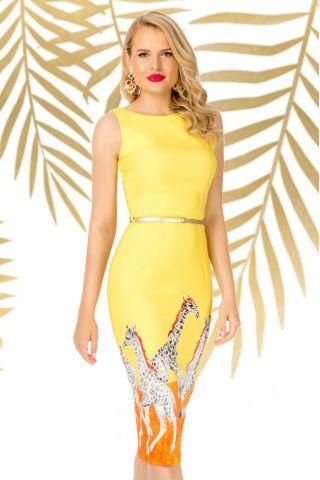 Rochie Pretty Girl galbena de zi conica cu imprimeu girafa si curea in talie