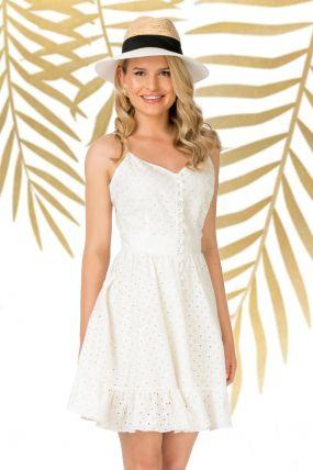 Rochie Pretty Girl de vara ecru in clos cu nasturi tip perla