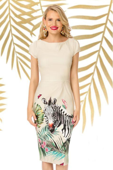 Rochie Pretty Girl bej cu print zebra si flori tropicale