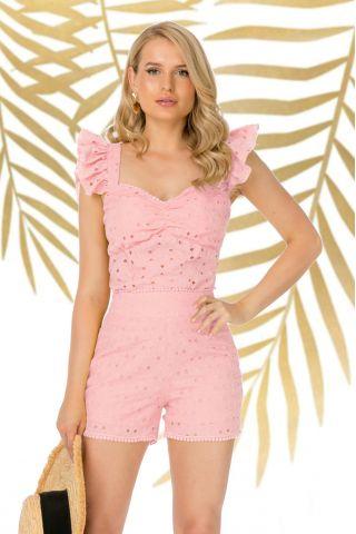 Bluza Pretty Girl de vara roz din bumbac perforat cu volanase la umeri