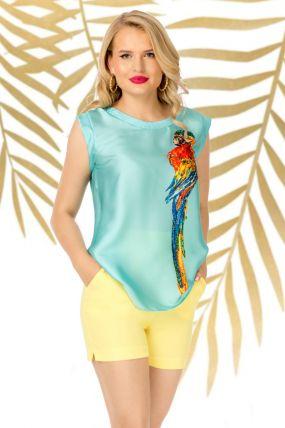 Bluza Pretty Girl mint din satin cu imprimeu papagal