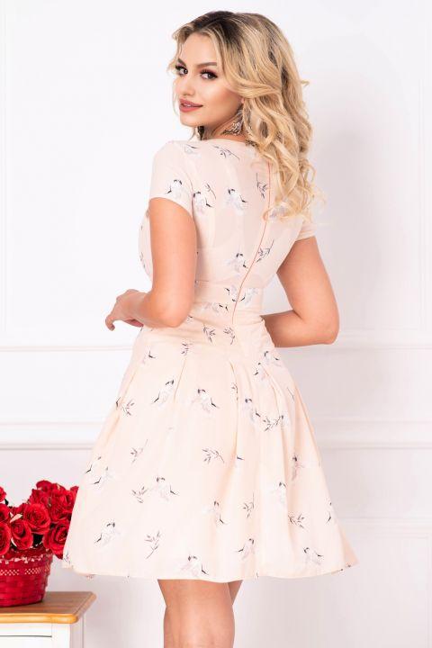 Rochie blush de vara din voal cu imprimeu pasari