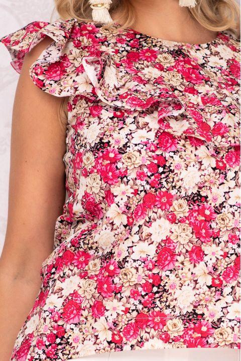 Bluza Effect asimetrica cu imprimeu floral si volanas
