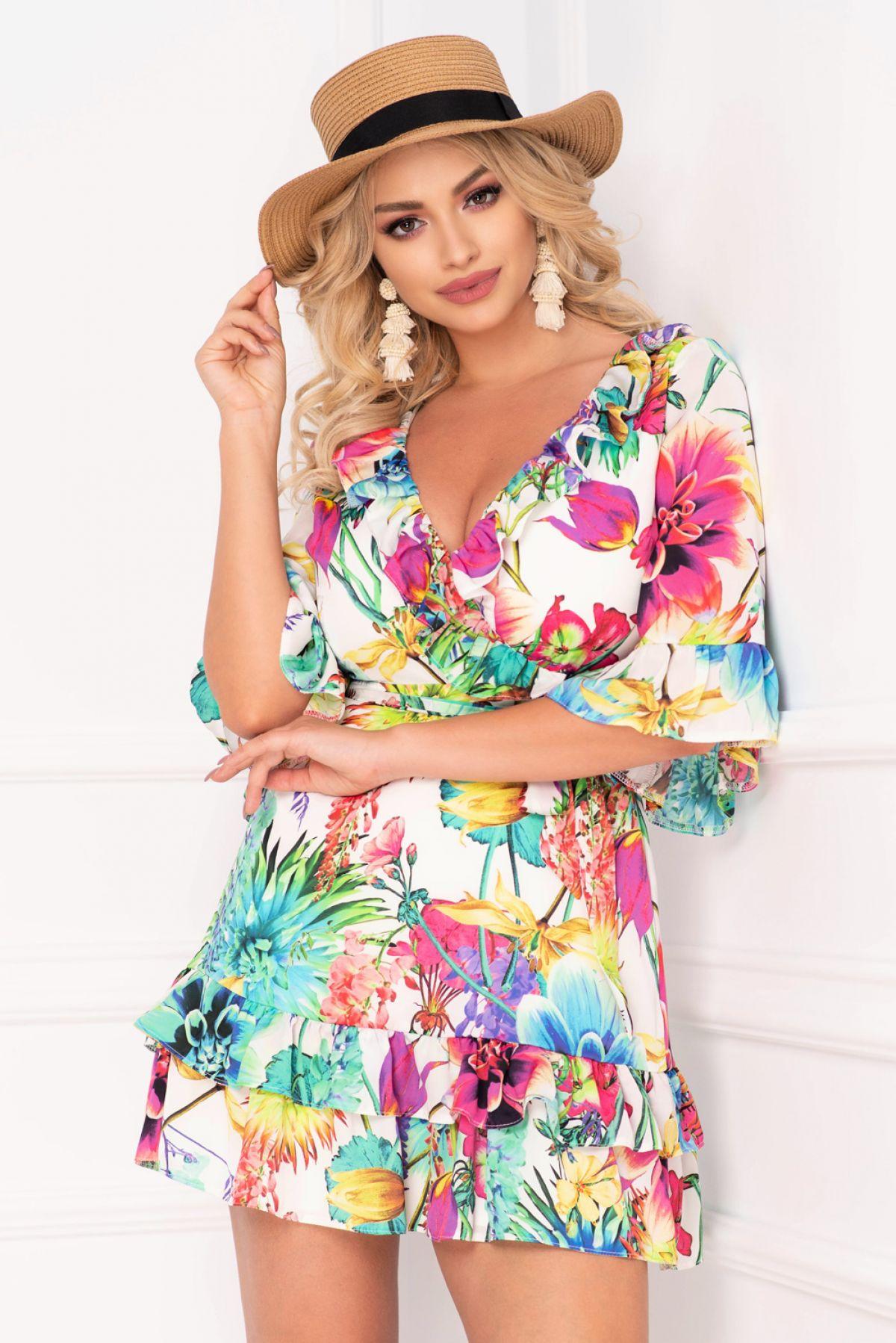 Rochie Artista de vara cu imprimeu floral colorat Artista-Fashion
