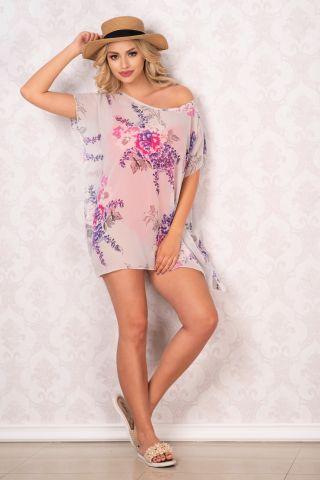 Rochie de plaja tip fluture din voal cu flori mov