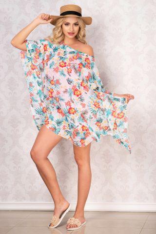 Rochie de plaja tip fluture din voal cu imprimeu tropical