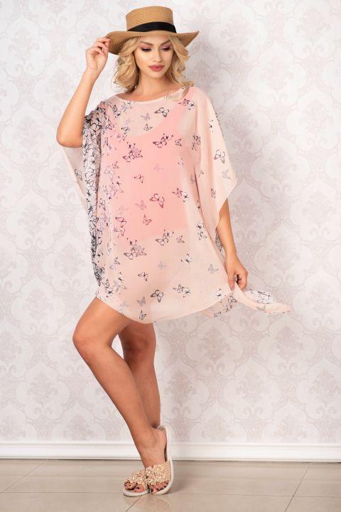 Rochie de plaja roz pudrat tip fluture