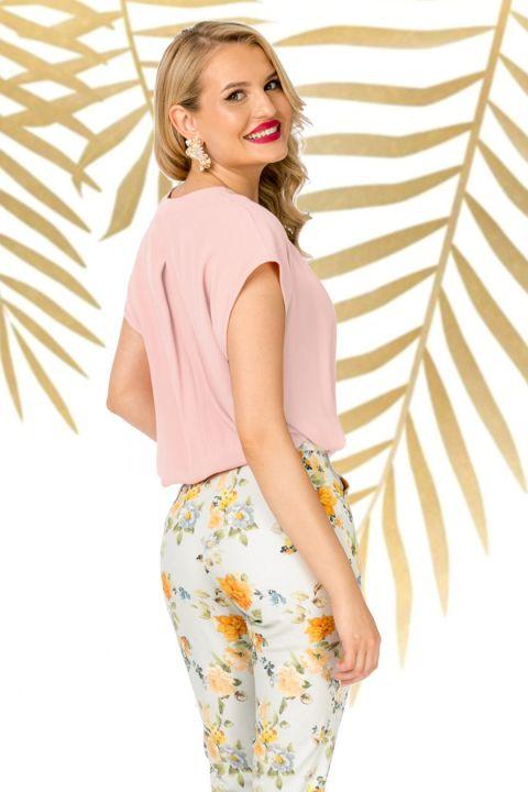 Bluza Pretty Girl casual rose din vascoza cu decolteu anchior