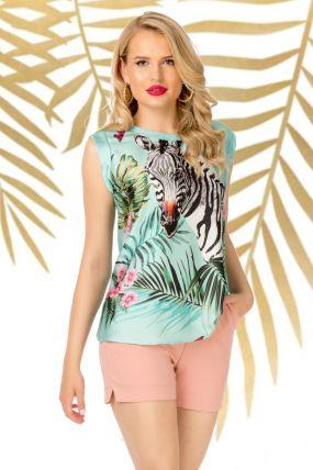 Bluza Pretty Girl mint din satin cu imprimeu zebra