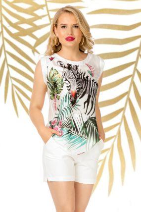 Bluza Pretty Girl alba din satin cu imprimeu zebra