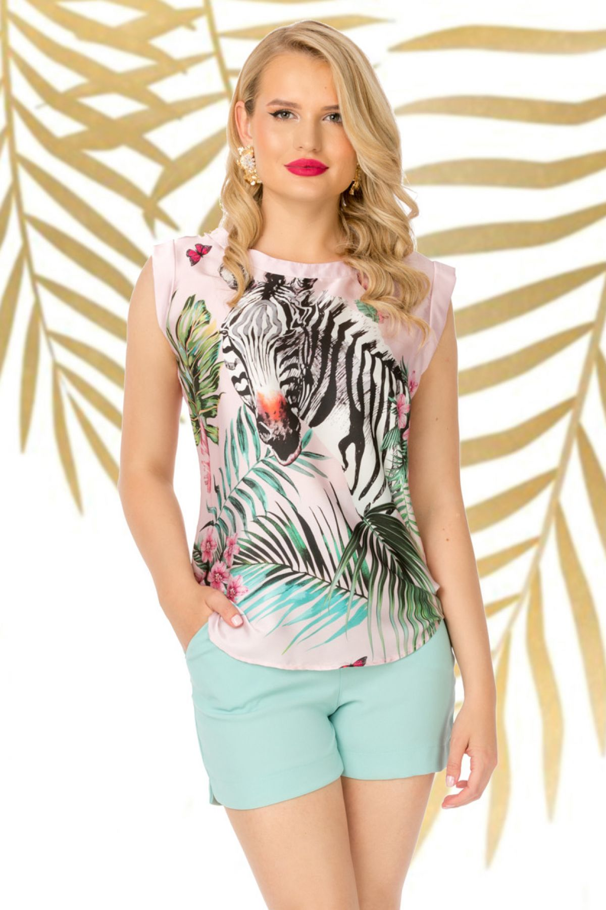 Bluza Pretty Girl rose din satin cu imprimeu zebra