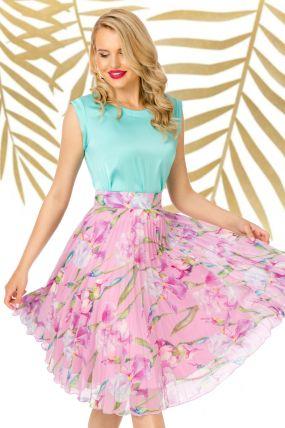 Fusta Pretty Girl plisata roz cu imprimeu floral