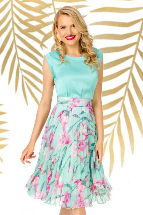 Fusta Pretty Girl plisata mint cu imprimeu floral