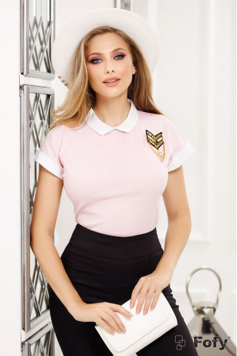 Camasa Fofy de zi roz cu dungulite si brosa navy