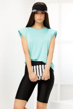 Tricou Fofy trendy turquoise cu pernute buretate la umeri