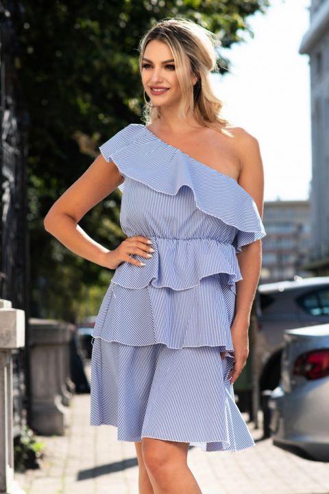 Rochie Fofy bleu din bumbac cu volane si dungulite