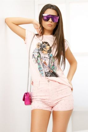 Tricou Fofy roz cu imprimeu foto si aplicatii paiete
