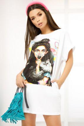 Rochie Fofy alba de vara tip tricou cu imprimeu fata si pisica