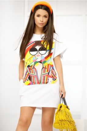 Rochie Fofy alba de vara cu imprimeu fashion