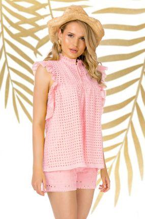 Bluza Pretty Girl roz de vara cu broderie perforata si volane laterale