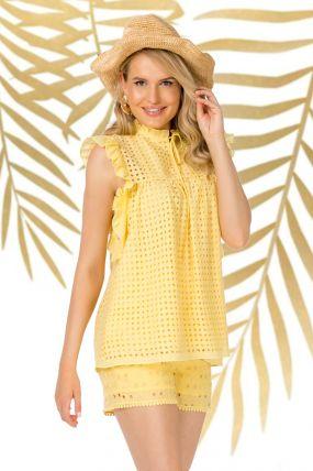 Bluza Pretty Girl galbena de vara cu broderie perforata si volane laterale