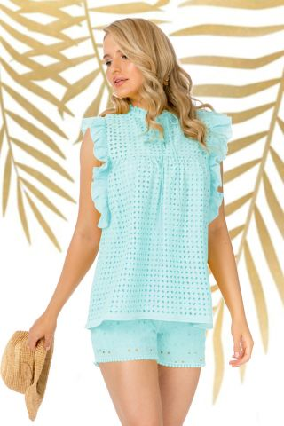 Bluza Pretty Girl mint de vara cu broderie perforata si volane laterale