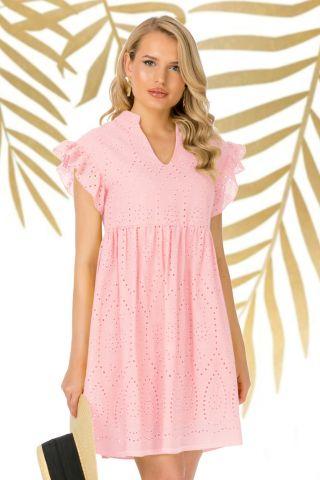Rochie Pretty Girl roz de vara gofrata cu volanase la umeri