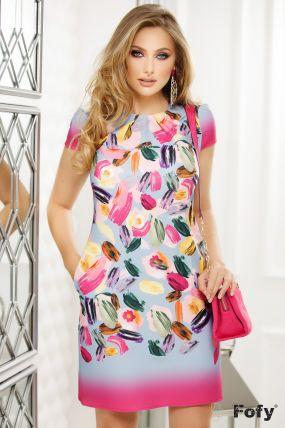 Rochie de zi Fofy cu imprimeu multicolor tip pictura