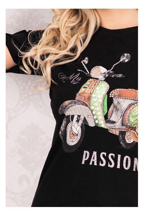 Tricou negru din vascoza cu imprimeu scuter si aplicatii pietricele