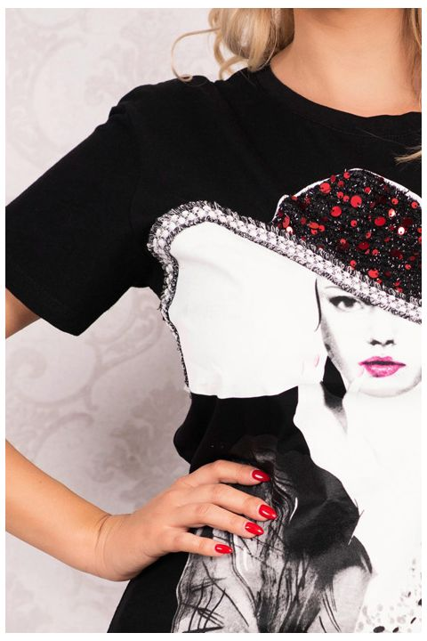 Tricou negru cu imprimeu portret fata si paiete rosii