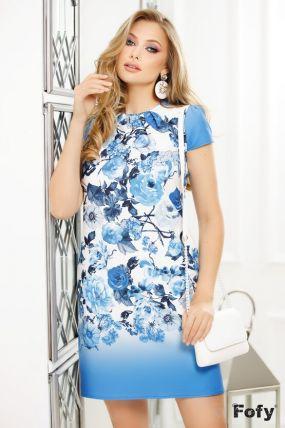 Rochie de zi bleu cu imprimeu floral