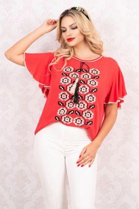 Bluza rosie Venezia cu broderie traditionala cu maneci evazate