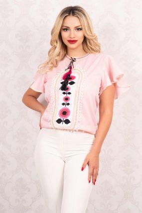 Bluza Venezia roz cu broderie aplicata si maneci evazate