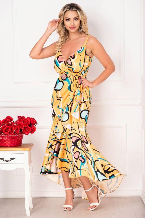 Rochie de zi MBG cu imprimeu deosebit multicolor