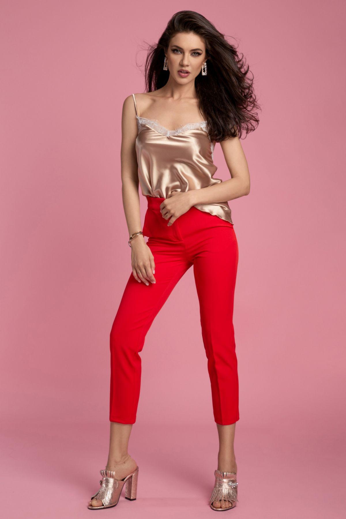 Pantaloni Atmosphere rosii eleganti cu talie inalta