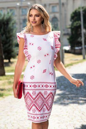 Rochie MBG eleganta alba cu imprimeu rosu