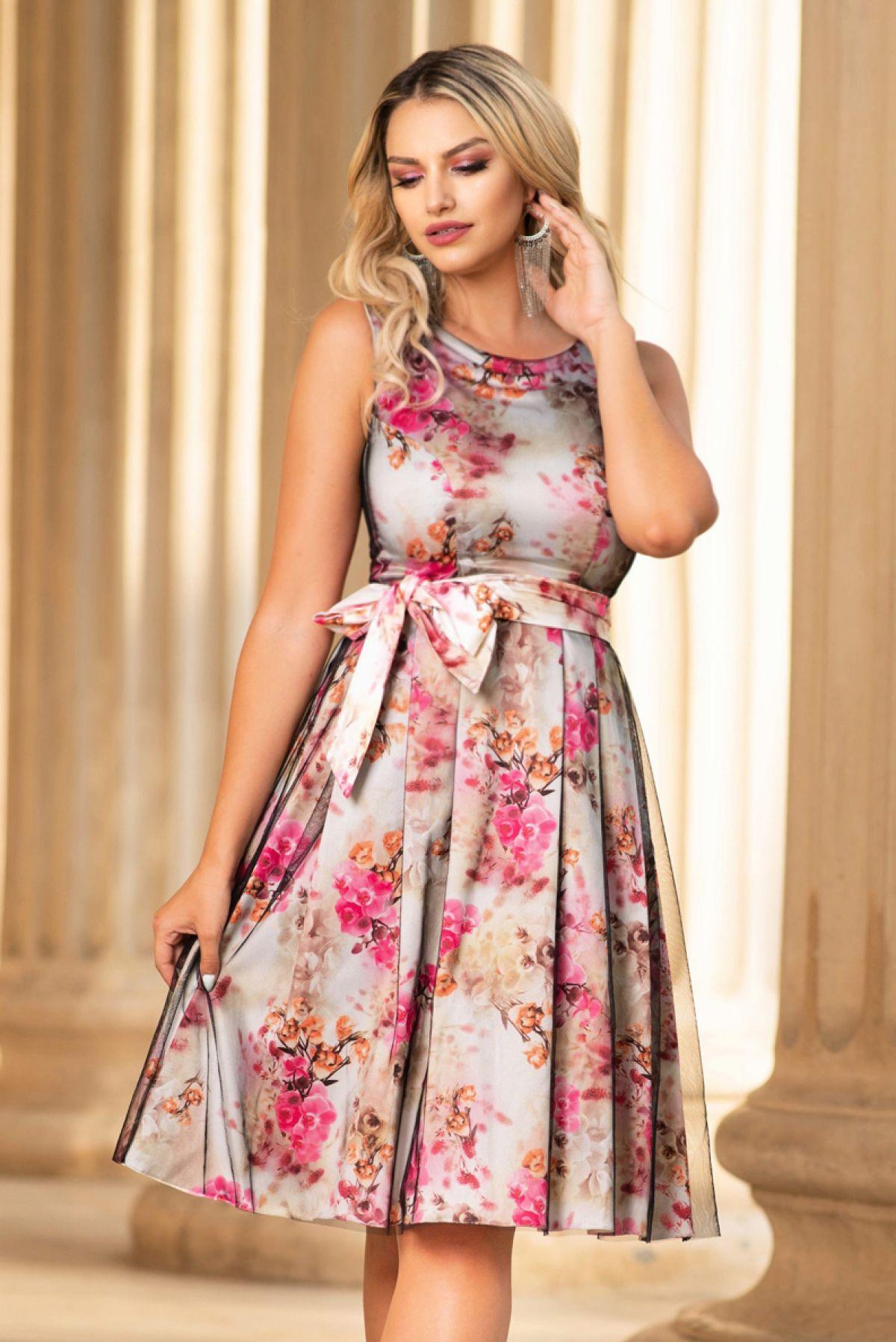 Rochie de ocazie cu imprimeu floral roz si tul negru